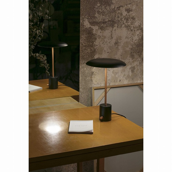 HOSHI LED Black and brushed copper table lamp