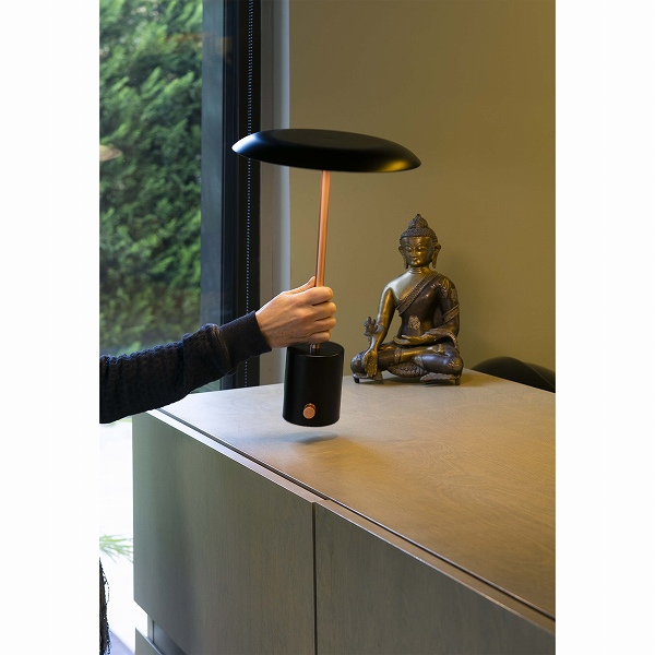 HOSHI LED Black and brushed copper portable lamp